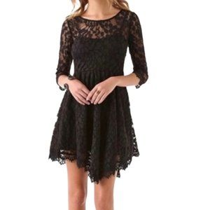 Free People Black Floral Lace Fringe Mini Dress 8